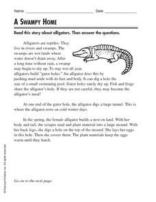 A Swampy Home Worksheet
