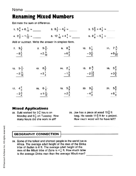 renaming mixed numbers worksheet for 5th grade lesson planet. Black Bedroom Furniture Sets. Home Design Ideas