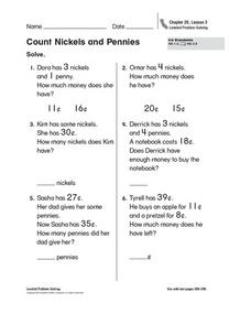 Count Nickels and Pennies Worksheet