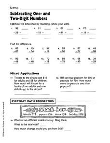 Subtracting One and Two Digit Numbers Worksheet