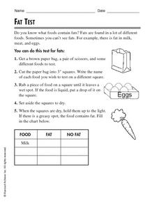 Fat Test Worksheet