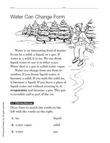 Water Can Change Form Worksheet