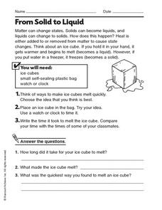 From Solid to Liquid Worksheet