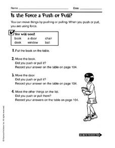 Worksheets Push And Pull Worksheets For 3rd Grade is the force push or pull 3rd 4th grade worksheet lesson planet worksheet