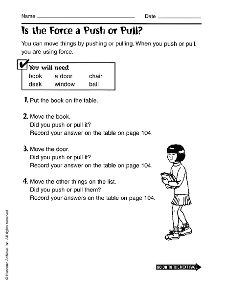 Forces Push And Pull Lesson Plans Worksheets Reviewed By Teachers