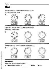 Hour: Clocks Worksheet