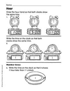 Hour: Telling Time Worksheet