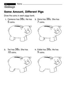 Same Amount Different Pigs Worksheet