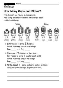 How Many Cups and Plates? Worksheet