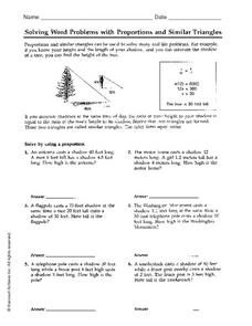 Solving Word Problems with Proportions and Similar Triangles 6th ...