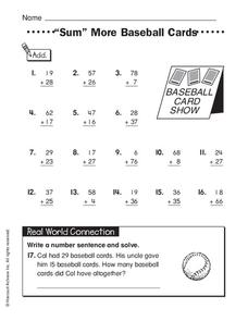 """Sum"" More Baseball Cards Worksheet"