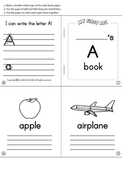 Alphabet Mini Books Printables & Template For Pre-K - 1st Grade Lesson  Planet