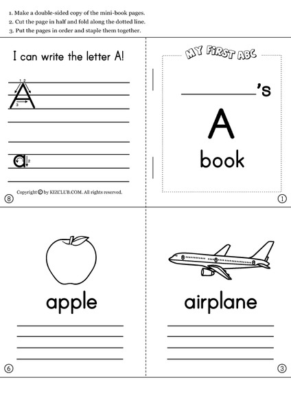 picture about Free Printable Mini Book Template called Alphabet Mini Publications Printables Template for Pre-K - 1st
