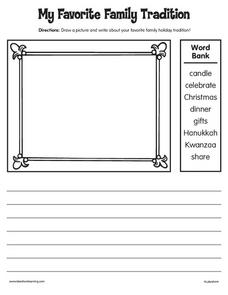 My Favorite Holiday Tradition Worksheet
