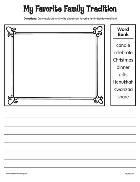my favorite holiday tradition worksheet for 2nd 3rd grade lesson planet. Black Bedroom Furniture Sets. Home Design Ideas
