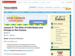 The Role of Individuals and Groups in the Census Lesson Plan
