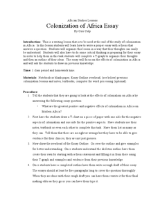African Studies Lessons Colonization of Africa Essay Lesson Plan