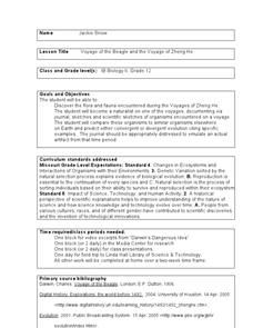 Voyage of the Beagle and the Voyage of Zheng He Lesson Plan