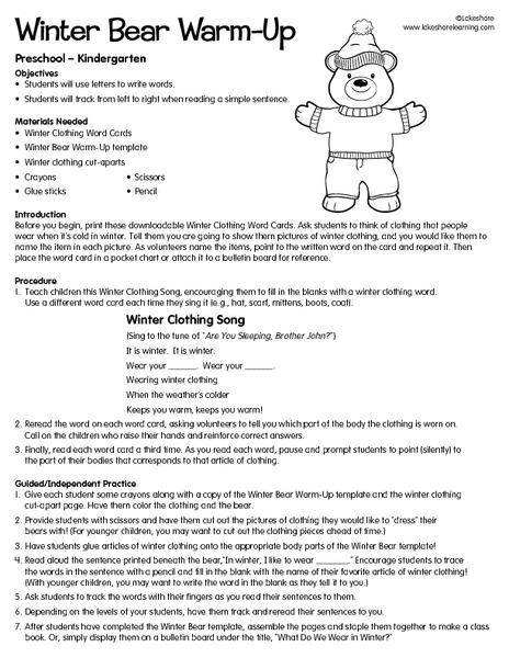 winter bear warm up lesson plan for pre k 1st grade. Black Bedroom Furniture Sets. Home Design Ideas