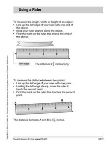 Using a Ruler Worksheet Worksheet
