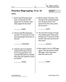 Practice Regrouping 15 to 18 Worksheet