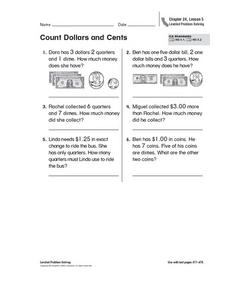 Count Dollars and Cents Worksheet