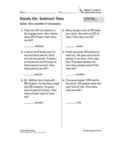 Hands On: Subtract Tens Worksheet