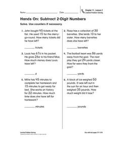 Hands On: Subtract 2-Digit Numbers Worksheet