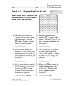 Subtract Using a Hundred Chart Worksheet