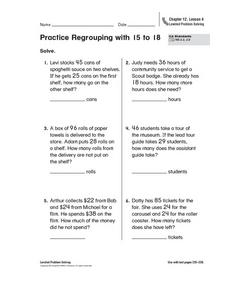 Practice Regrouping with 15 to 18 Worksheet