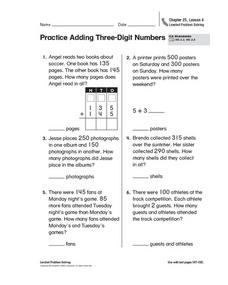 Practice Adding Three-Digit Numbers Worksheet
