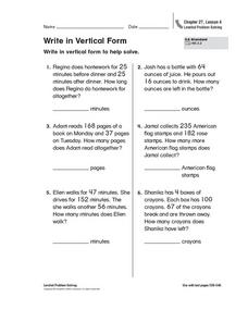 Write in Vertical Form Worksheet