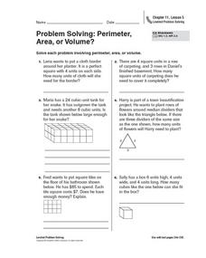 Problem Solving: Perimeter, Area, or Volume? Worksheet