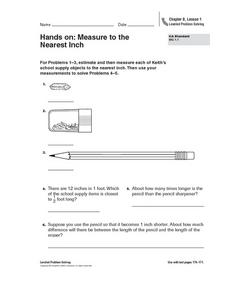Hands On: Measure to the Nearest Inch Worksheet