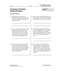 Compare and Order Whole Numbers Worksheet