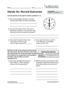 Hands On: Record Outcomes Worksheet