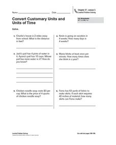 Convert Customary Units and Units of Time Worksheet