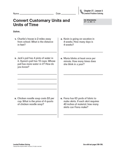 Convert Customary Units And Units Of Time Worksheet For