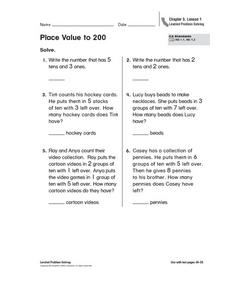 Place Value to 200 Worksheet