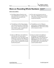 More on Rounding Whole Numbers Worksheet