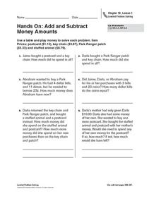 Hands On: Add and Subtract Money Amounts Worksheet