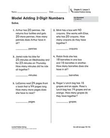 Model Adding 2-Digit Numbers Worksheet