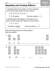 Repeating and Growing Patterns  reteach 6.5 Worksheet