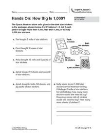 Hands On: How Big is 1,000? Worksheet