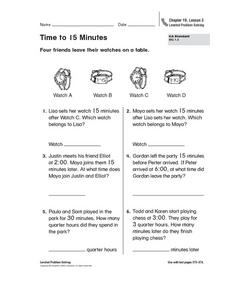 Time to 15 Minutes Worksheet