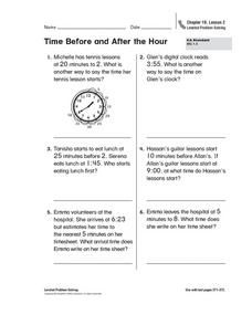 Time Before and After the Hour Worksheet
