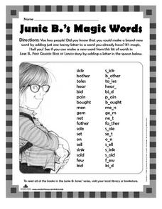 Junie B.'s Magic Words Worksheet