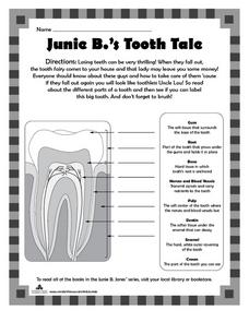 Junie B.'s Tooth Tale Worksheet