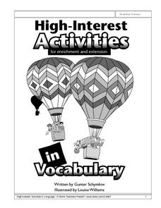 High-Interest Activities in Vocabulary Worksheet