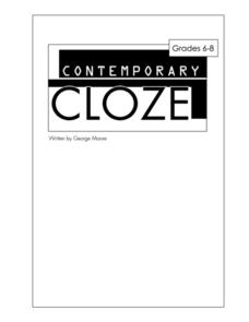 Contemporary Cloze Worksheet